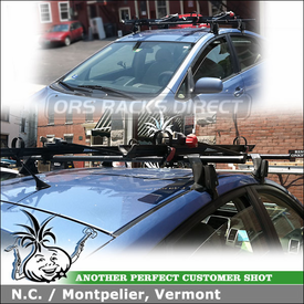 "Toyota Prius Roof Bike Racks System using Yakima Q Towers, Q5 Clips, Q124 Clips & 58"" Crossbars and Yakima Raptor Bicycle Carriers"