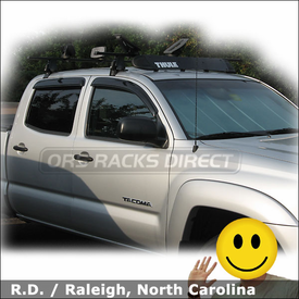 Toyota Tacoma Roof Rack for Kayak with Thule 400XT Aero System, 872XT Fairing & 883 Glide and Set Kayak Saddles