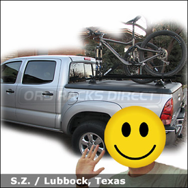 Toyota Tacoma Tonneau Cover Rack with Yakima Control Towers (#6 Landing Pads) & RockyMounts Bike Racks