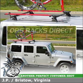 Tracks, Roof Rack Cross Bars + 2 Bike Trays for 2012 Jeep Wrangler Unlimited Sahara HardTop using Yakima Jeep Wrangler Hard Top Kit & RockyMounts TieRod