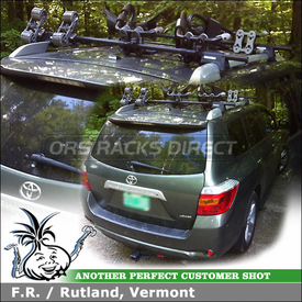 Trailer Hitch, Rolling Kayak Saddles and J Cradles on Roof Side Rail Cross Bars for 2012 Toyota Highlander