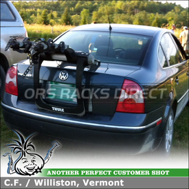 Trunk Bike Rack for VW Passat Sedan using 9002XT Thule RaceWay 3 Bike Trunk Mount Rack