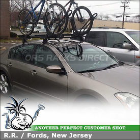 Two Bike Racks and Roof Rack Crossbars for 2004 Nissan Maxima Using Yakima Q Towers, Q 119 Clips and King Cobras