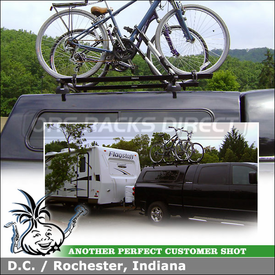 Two Bike Roof Rack for Fiberglass Truck Cap Camper Shell on a 2007 Dodge Ram 2500 Mega Cab