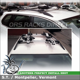 Two Cartop Bike Mounts On Roof Rack Cross Bars for 2011 Volkswagen Jetta Factory Side Rails using Whispbar S53 Rail Bar, Thule 598 Criterium & Xadapt 8 Kit