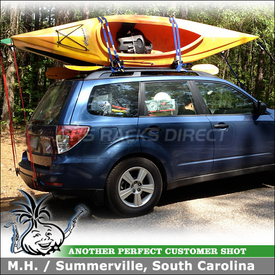 Two Kayak Racks for 2012 Subaru Forester Factory Rack Cross Bars using Thule 834 Hull-a-Port J-Cradles