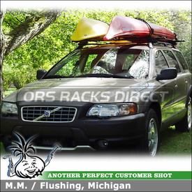 Two Kayaks on Raised Side Rails Car Rack Cross Bars for a 2002 Volvo XC 70