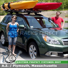 Two Thule Hullavator Kayak Racks for 2011 Subaru Outback Roof Rack Crossbars using Thule 897XT Hullavator & 45058 CrossRoad System