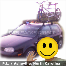 Volkswagen VW GTI Tandem Bike Roof Rack with Thule 400XT Car Rack & 558p Tandem Bike Rack
