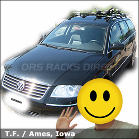 Volkswagon Passat Wagon Car Rack for Kayak with Yakima Mako Saddles / HullyRoller Kayak Rack Combination