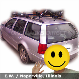 VW Jetta Roof Rack for Bike & Kayak with Yakima Lowrider Car Rack, Yakima Boa, Wheel Fork and Yakima Mako Saddles