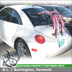 VW New Beetle Trunk Bike Rack using 801p Pink Saris Bones 3 Bike Trunk Rack