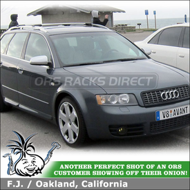 Whispbar Car Rack Cross Bars on 2004 Audi S4 Avant Factory Side Rails