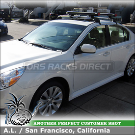 Whispbar S7 Flush Bar Car Rack for 2011 Subaru Legacy with Yakima Fat Cat 6 Ski Rack Attached