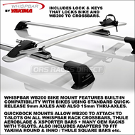 Whispbar WB200 Bike Mount Rooftop Bicycle Rack - Fits 9mm Axles + 15mm Thru-Axle Compatible and Fits T-Slot Crossbars - 8052001