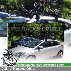 "Wind Fairing & Bike Mount for 2012 Ford Focus SE Roof Rack Crossbars using Yakima Q Towers, Q 128 Clips, 58"" Bars, 44"" Fairing & Raptor Bike Rack"