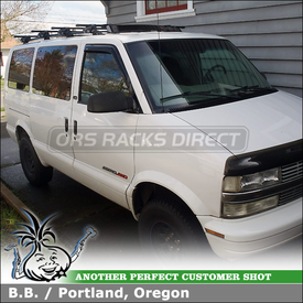 Wind Fairing & Roof Rack Cross Bars for 2002 Chevy Astro Van AWD Factory Side Rails using Inno INFR Stays, B147 Crossbars, INA-261 Fairing