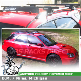 "Wind Fairing + Roof Rack Cross Bars for 2005 Subaru Impreza WRX SportWagon Side Rails using Yakima RailGrab Towers, 48"" Crossbars & 32"" Fairing"