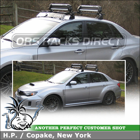 Wind Fairing + Ski-Snowboard Carrier for 2012 Subaru WRX Roof Rack using Inno INXR Stays (w/ TR127 Fit Hooks & B117 Bars), INA927 Ski Rack & INA261 Fairing