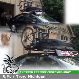 Yakima Gear Bag and Bike Rack on Rooftop Cross Bars System for a 2008 Honda Civic 4-Door