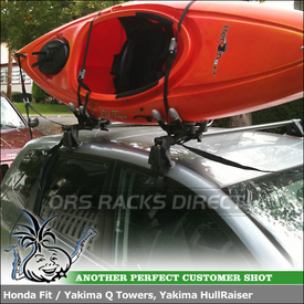 Yakima HullRaiser Kayak Mount on Q Tower Base Rack for a 2007 Honda Fit