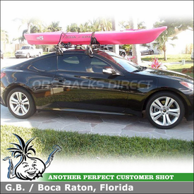 Yakima Kayak Saddles and Kayak Roller On 2010 Hyundai Genesis Coupe Roof Rack Cross Bars