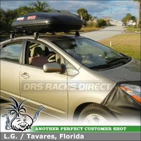 Yakima Q Tower Roof Rack and RocketBox Pro 12 Cargo Box for 2007 Toyota Prius Cartop
