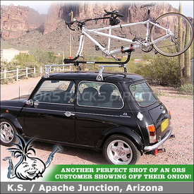 Yakima SideWinder Tandem Bike Rack on 1966 Morris Mini Car Rack Cross Bars