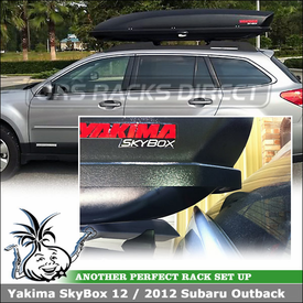 Yakima SkyBox 12 Roof Box On 2012 Subaru Outback Factory Rack and Rear Hatch Door Opens Without Touching Back of Sky Box
