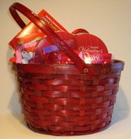 Red Valentine Candy Gift  Basket