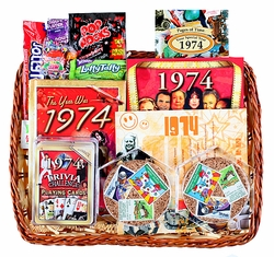 40th Birthday Gift Basket with Stamps