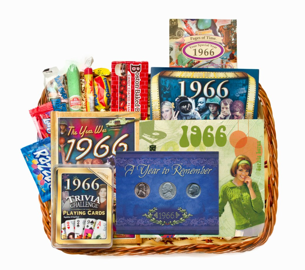 50th birthday gift basket for 1966 or 1967   on sale