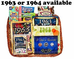 50th Birthday Gift Basket for 1963 or 1964
