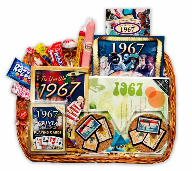 50th Birthday Gift Basket For Men: 50th Gift Basket With Stamps For 1967