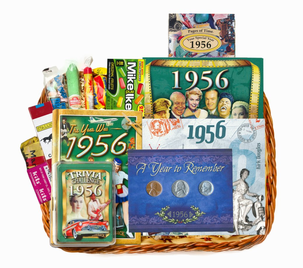 60th Birthday Gift Basket For 1956 Or 1957 With Coins -ON