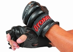 Black Leather Open Finger Gloves
