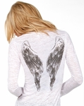 Rhinestone Angel Wings Long Sleeve Burnout Top