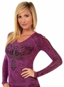 Soft Slub Funnel Cross Wings Long Sleeve Tee