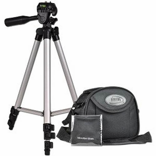 Digital Camera/Camcorder Tripod with Carry Case and Cleaning Cloth