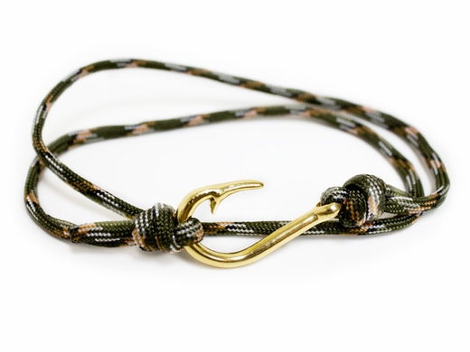green braided cord bracelet with gold silver pattern