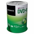 Sony 100DPR47SP 16x DVD+R 4.7GB Recordable DVD Media - 100 Pack