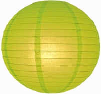 """8"""" Chartreuse Round Paper Lantern, Even Ribbing, Hanging (Light Not Included)"""
