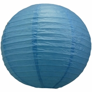 """8"""" Dark Blue Round Paper Lantern, Even Ribbing, Hanging  (Light Not Included)"""