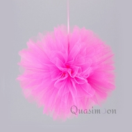 "10"" Fuchsia / Hot Pink Tulle Fabric Pom Poms Flowers Balls, Decorations (4 PACK)"