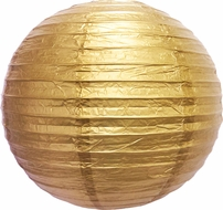 """8"""" Gold Round Paper Lantern, Even Ribbing, Hanging (Light Not Included)"""
