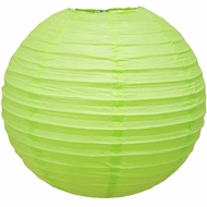 """8"""" Light Lime Green Round Paper Lantern, Even Ribbing, Hanging  (Light Not Included)"""