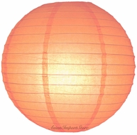 """8"""" Peach / Orange Coral Round Paper Lantern, Even Ribbing, Hanging (Light Not Included)"""