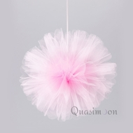 "10"" Pink Tulle Fabric Pom Poms Flowers Balls, Decorations (4 PACK)"