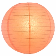 """8"""" Roseate / Pink Coral Round Paper Lantern, Even Ribbing, Hanging (Light Not Included)"""