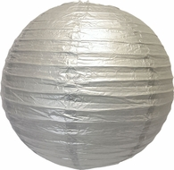 """8"""" Silver Round Paper Lantern, Even Ribbing, Hanging (Light Not Included)"""